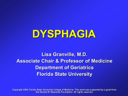 Dysphagia - Florida State University College of Medicine