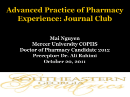 Advanced Practice of Pharmacy Experience: Journal Club Mai Nguyen