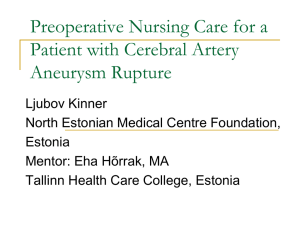 Preoperative Nursing Care for a Patient with Cerebral Artery