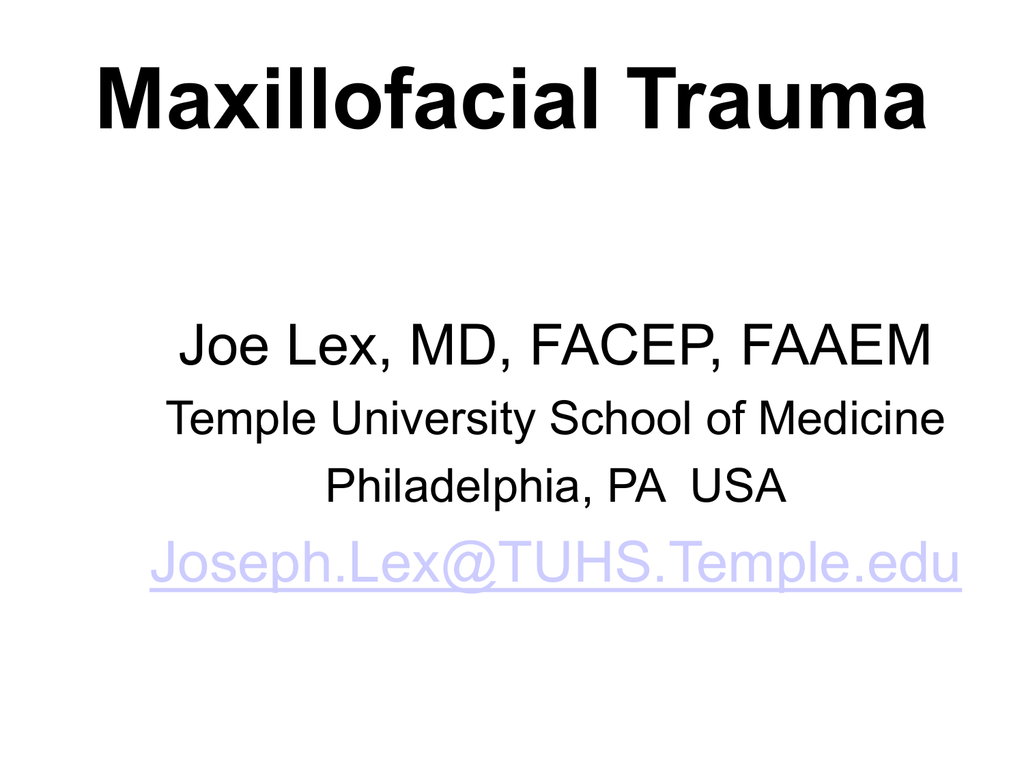 PowerPoint – Maxillofacial Trauma