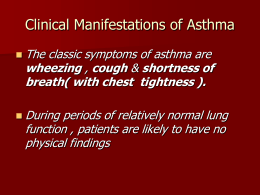 Clinical Manifestations of Asthma