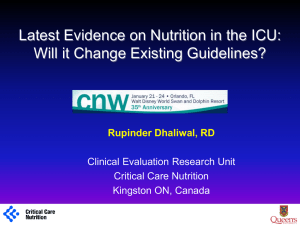 CNW2012_Dhaliwal - Critical Care Nutrition
