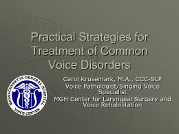 Practical Strategies for Treatment of Common Voice Disorders