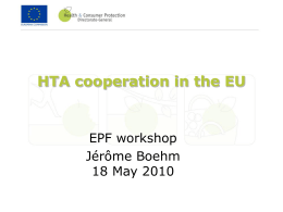Presentation - HTA Cooperation in the EU, Jerome Boehm