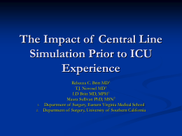 Impact of Central Line Simulation Prior to ICU Experience