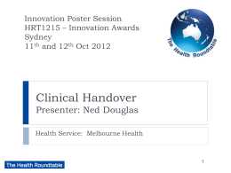 Clinical Handover - The Health Roundtable