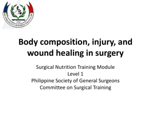 Body composition, injury, and wound healing in surgery