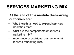 SERVICES MARKETING MIX