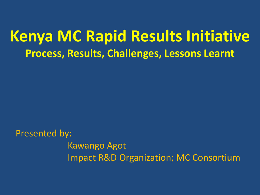 rapid results initiative in kenya
