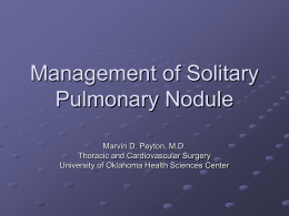 Management of Solitary Pulmonary Nodule