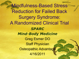 Mindfulness Based Stress Reduction and Failed Back Surgery
