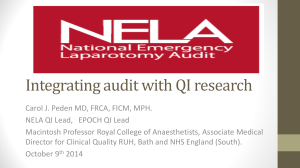 Dr.C.Peden - NELA`s story - the impact of integrating audit wit