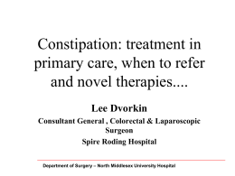 Constipation, treatment in primary care
