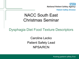 Dysphagia Diet Food - The National Association of Care Catering