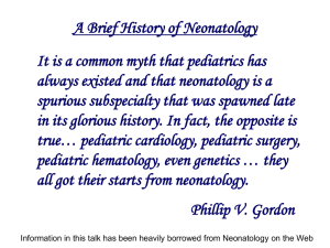 The history of neonatology