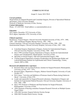 CURRICULUM VITAE Ansgar O. Aasen, MD Ph.D. Current positions