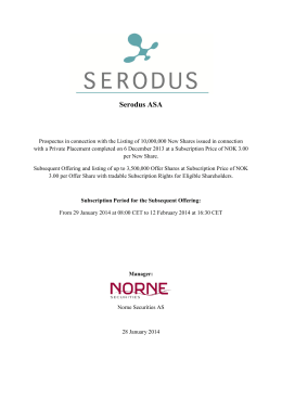 Serodus ASA - Norne Securities