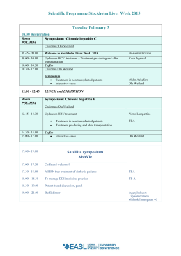 Scientific Programme Stockholm Liver Week 2015 Tuesday
