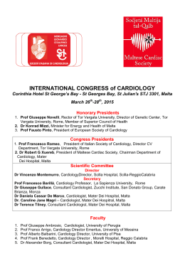 INTERNATIONAL CONGRESS of CARDIOLOGY, Malta 26-28