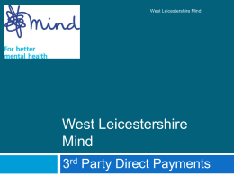 West Leicestershire Mind - Leicestershire County Council