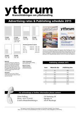 Advertising rates & Publishing schedule 2015