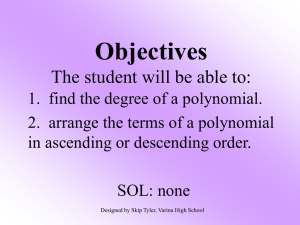 Degree and Order of Polynomials