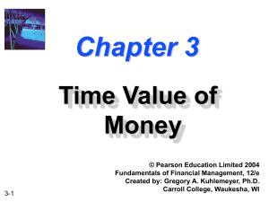 Chapter 3 -- Time Value of Money