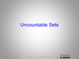 Uncountable Sets