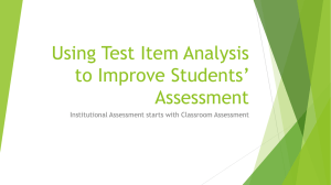 Using Test Item Analysis to Improve Students` Assessment (Song Gao)