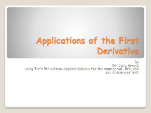 4.1 Applications of the First Derivative