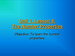 Unit 1, Lesson 6: The Number Properties