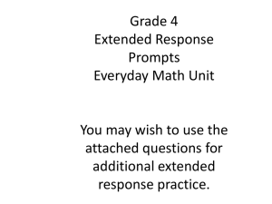Grade 4 Extended Response Prompts Everyday Math Unit You may
