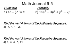 Unit 2 Day 4: Sequences as Functions