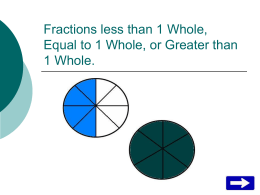 Fractions less than 1 Whole, Equal to 1 Whole, or Greater than 1