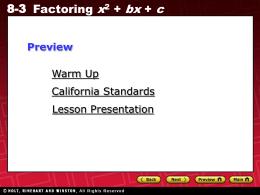 8-3 Factoring x^2 + bx + c