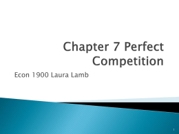 Chapter 7 Perfect Competition