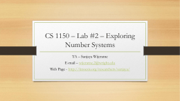 CS 1150 * Lab #2 * Exploring Number Systems