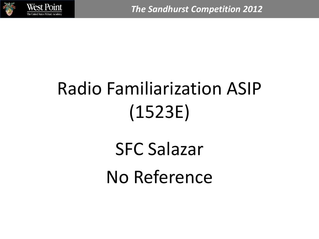 Radio Familiarization ASIP (1523E)