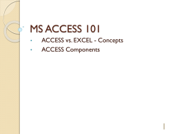 MS ACCESS 101 - Library @ University of the West