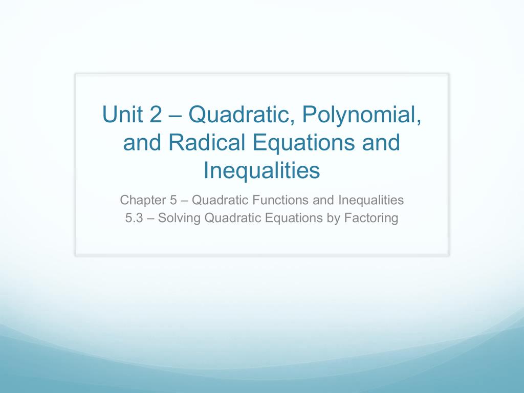 how to solve quadratic equation quickly