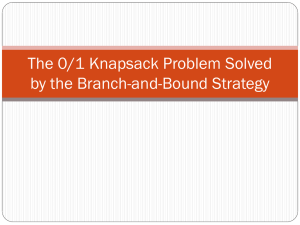 The 0/1 Knapsack Problem Solved by the Branch-and