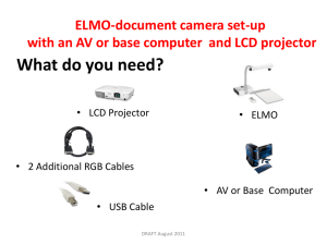 ELMO-document camera set-up with an AV or base computer and