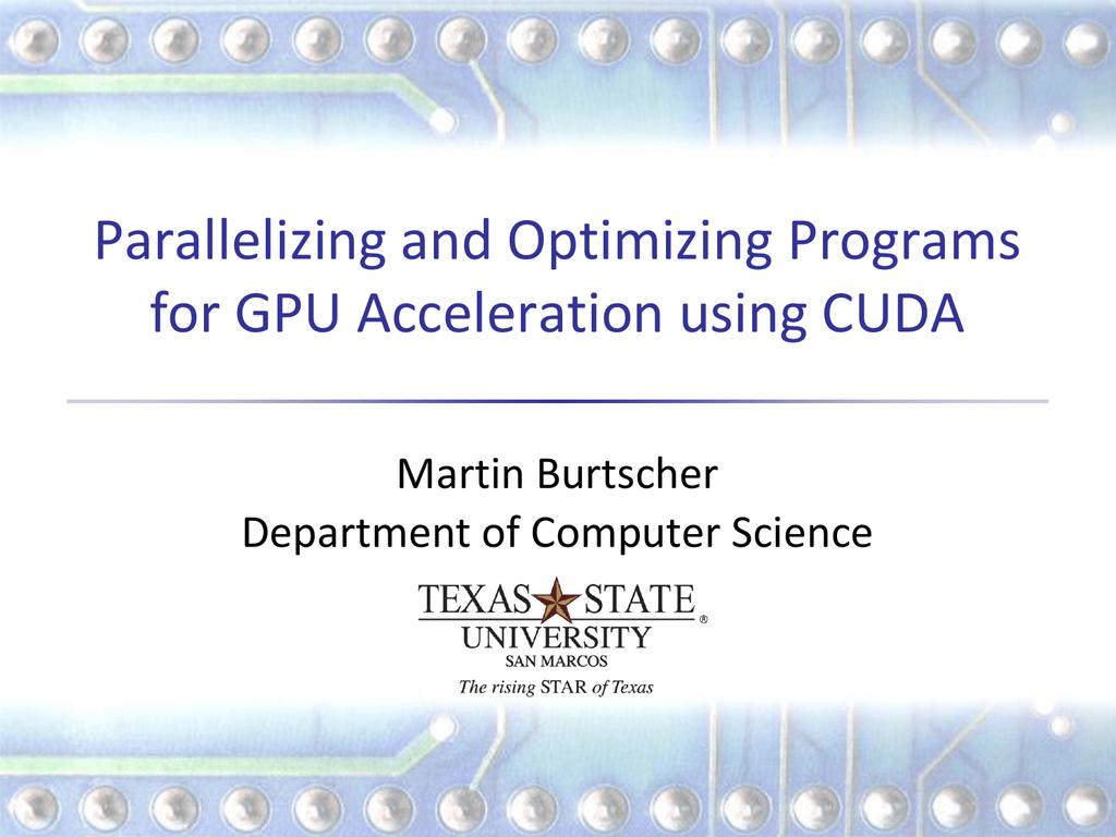 CUDA Optimization Tutorial - Computer Science