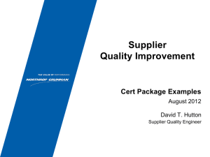 Supplier Quality Improvement Certification Package