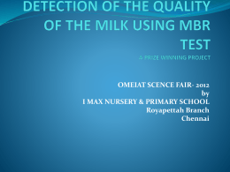 Detection of the quality of the milk using MBR test