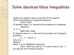 Solve absolute Value Inequalities