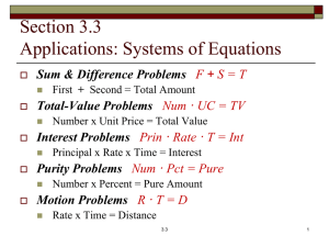 Solving Applications: Systems of Two Equations