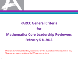 PARCC Mathematics CLG Training (PPT)