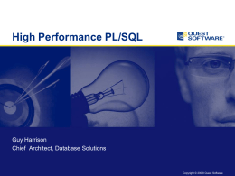 High Performance PL/SQL