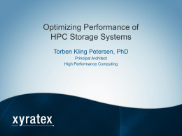 TK. Petersen - Optimizing Performance of HPC Storage Systems